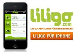 liligo für iPhone, jetzt auch mit Hotel- und Mietwagenvergleich