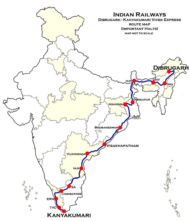 Dibrugarh-Kanyakumari_Vivek_Express_Route_map